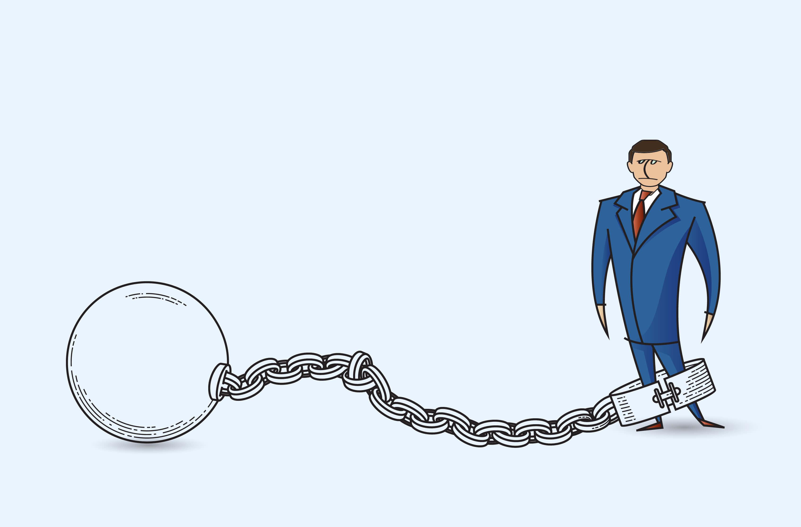 経営者 鎖で繋がれた図